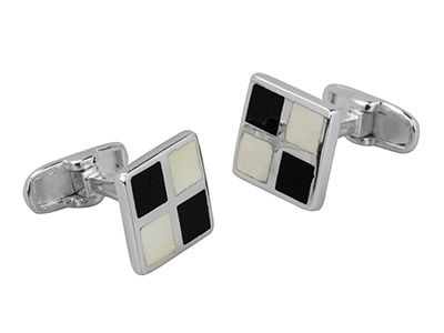 Sterling Silver Cuff Link Square   Black And White Enamel