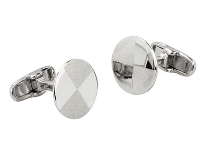 Sterling Silver Cuff Link Round    Matte Finished Segments