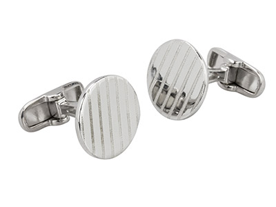 Sterling Silver Cuff Link Round    Matte Finished Stripes