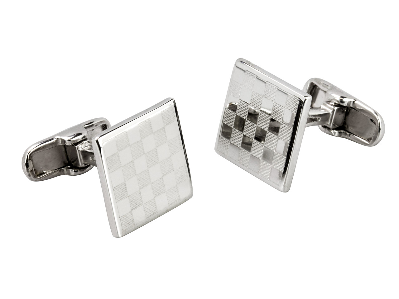 Sterling Silver Cuff Link Square   Chessboard Polished And Matte      Finish