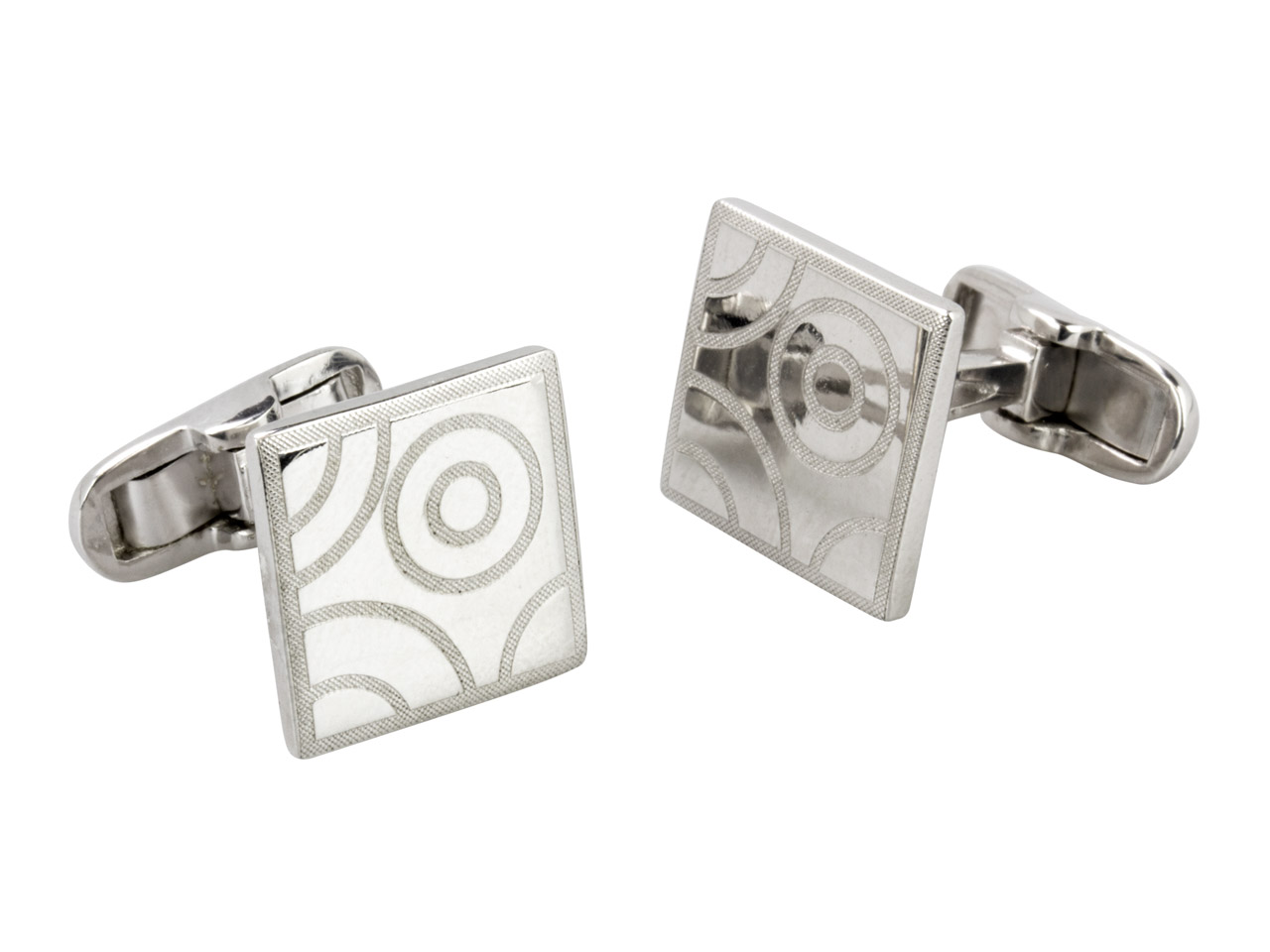 Sterling Silver Cuff Link Square   Circle Design Polished And Matte   Finish