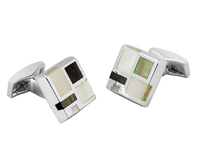 Sterling Silver Cuff Link Square   Grey And White Mother Of Pearl