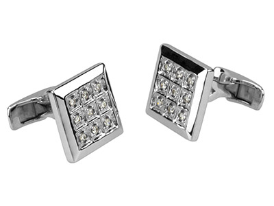 Sterling Silver Cuff Link Square   White Cubic Zirconia
