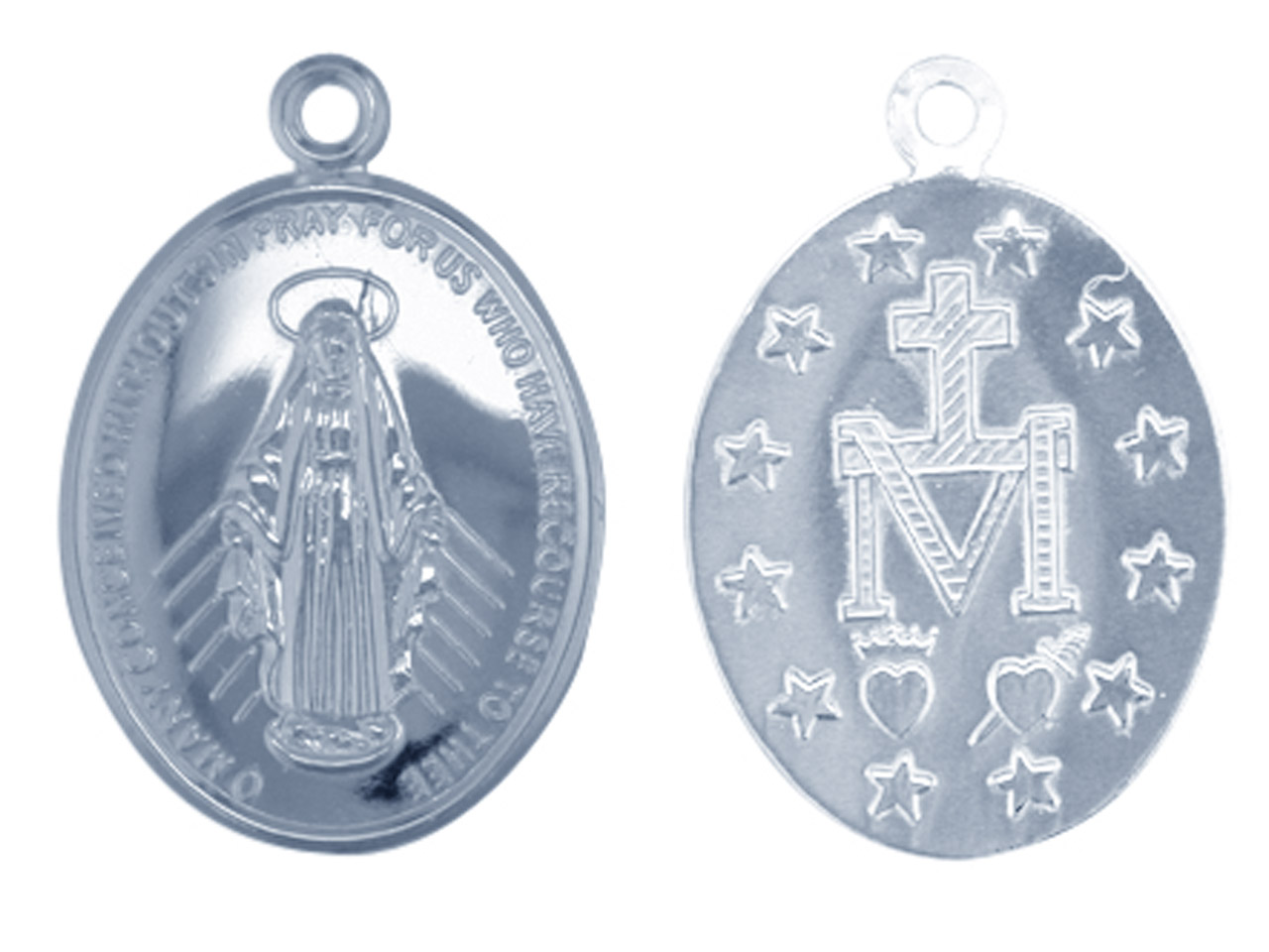 Sterling Silver Pendant Ks2358     0.90mm Double Sided, Pierced       Miraculous Medal