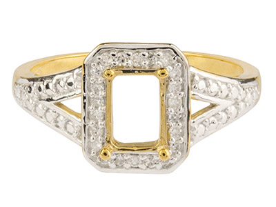 9ct Yellow Semi Set Diamond Ring Mount