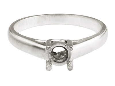 18ct White Cast 4 Claw Ring Crossover