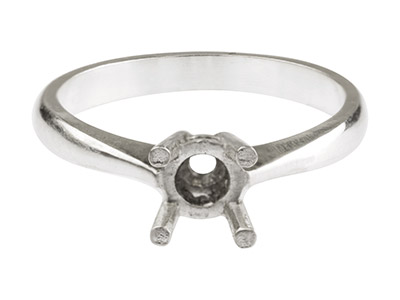 Sterling Silver Cast 4 Claw Bezel Ring