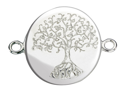 Sterling Silver Connector Tree Of Life Etched Disc