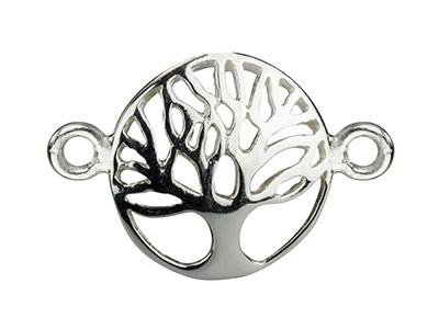 Sterling Silver Connector Tree Of Life Domed 12mm