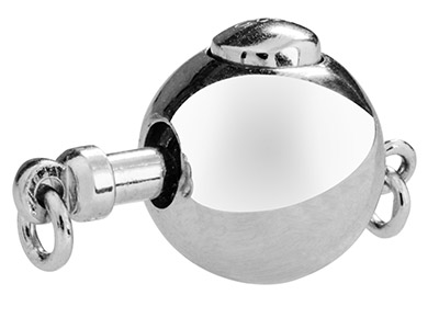Sterling Silver Push Button Round Clasp 10mm