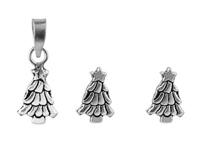5% off Sterling Silver Christmas Tree Set