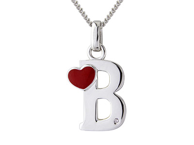Sterling Silver Dia Initial B Pendant