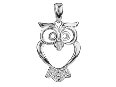 Sterling Silver Open Design Owl Pendant