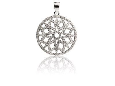Sterling Silver Round Filigree Pendant