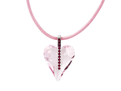 Silver Pink Crystal Heart Pendant