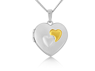 Sterling Silver 9ct Yellow Heart Locket