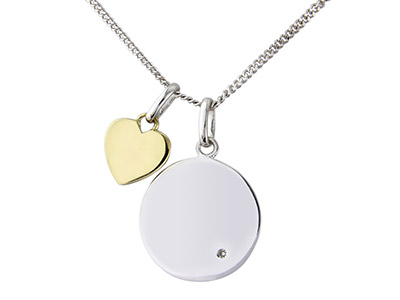 Sterling Silver 9ct Yellow Message Pendant
