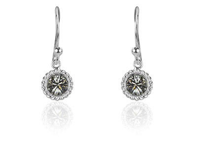 Sterling Silver White Crystal Drop Earring