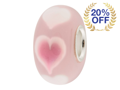 Glass Charm Bead, Pink With Pink Hearts