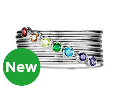 New Birthstone Stacking Rings