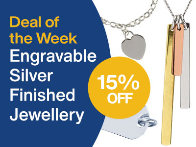 15% OFF Engravable Silver Finished Jewellery