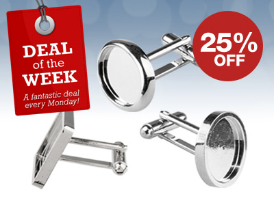 25% OFF Rhodium Plated Cufflink Blanks