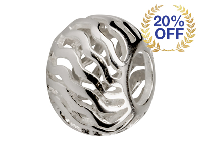 Sterling Silver Ripple Pattern Charm Bead