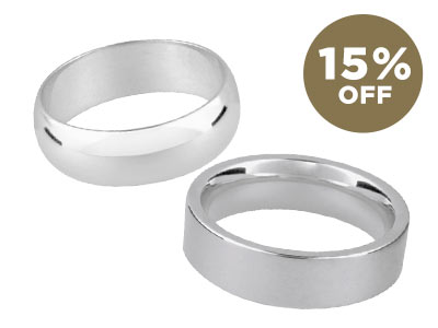 Shop all Silver Wedding Rings Blanks with 15% OFF