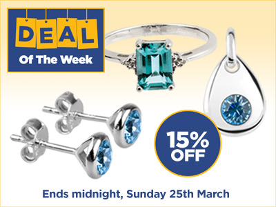 15% OFF selected Aquamarine and Topaz Jewellery