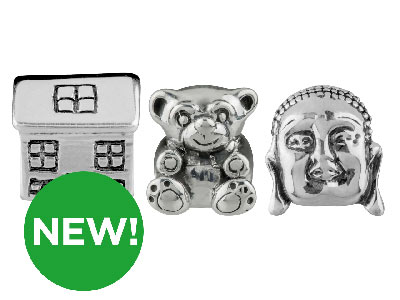 New Silver Charm Beads