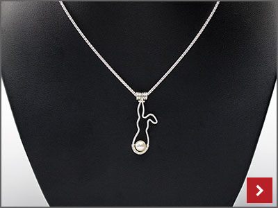 Sterling Silver and Swarovski Pearl Bunny Necklace, by Lorraine Sanderson