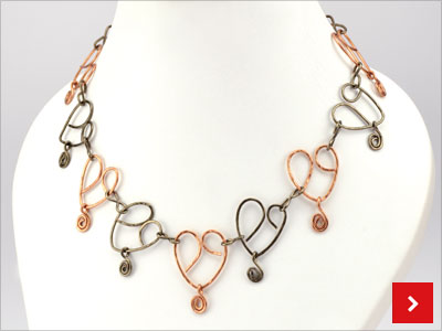 Hearts on Wire Necklace, by Margot Potter