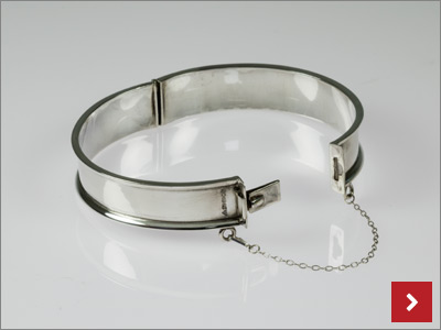 Hinged Silver Bangle, by John Ross
