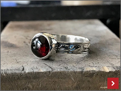 Cabochon Ring with Patterned Band, by Sharon Philogene