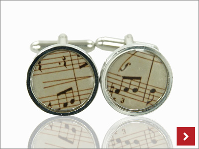 Music Resin Cufflinks, by Cooksongold
