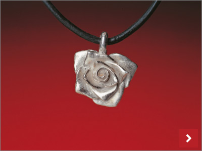 Precious Metal Clay Rose Pendant Necklace, by Sherri Haab