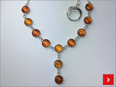 Silver Bezel Cabochon Necklace, by Sharon Philogene