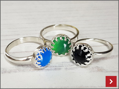 Cabochon Ring with Gallery Strip Setting by Lydia Niziblian